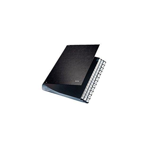 Leitz 58440095 PultOrdner (A4, 44 Fächer, 44 Plastik-Taben, sechs Sichtlöcher, schwarze Hartpappe) schwarz