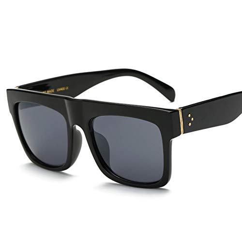 GJYANJING Sonnenbrille Flat Top Sonnenbrille Übergroßen Brille Männer Platz Sonnenbrille Frauen Mode Berühmte Niet Schwarz Vintage Shades Uv400