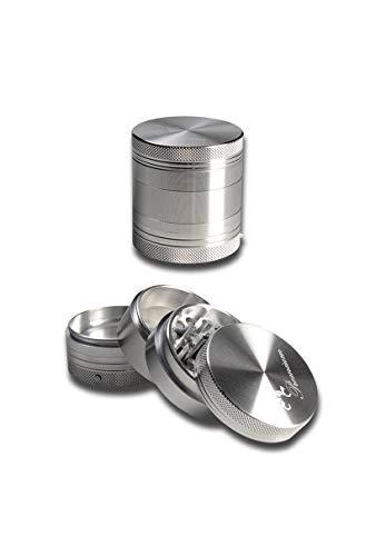 Black Leaf Kräuter-Mühle, Metall-Grinder, CNC-Grinder, ALU-Grinder | 4-teilig | 56 x 53 mm | Diamantschliff-Zähne | Aluminium, CNC-gefräst, silber | mit Vibration | von bong-discount