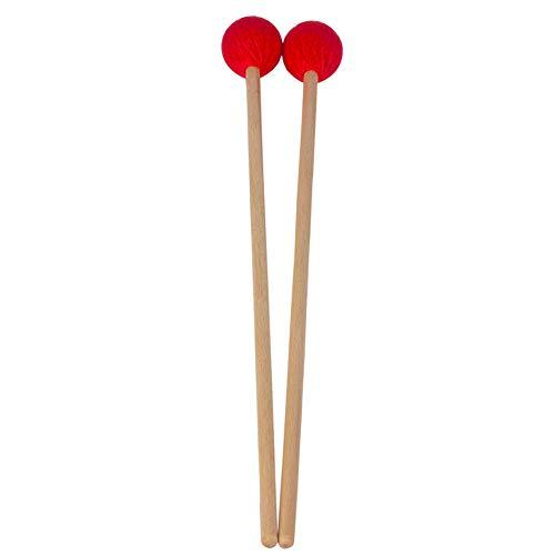 ZANTEC 1 Paio Accessori Portatili Professionali Bacchette Battenti Legno e Nylon Testa Morbida per Marimba Colore Rosso