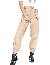 Mujer Pantalones Cargo Casual Hip-Hop Jogger Pantalones con Cadena para 76074639201