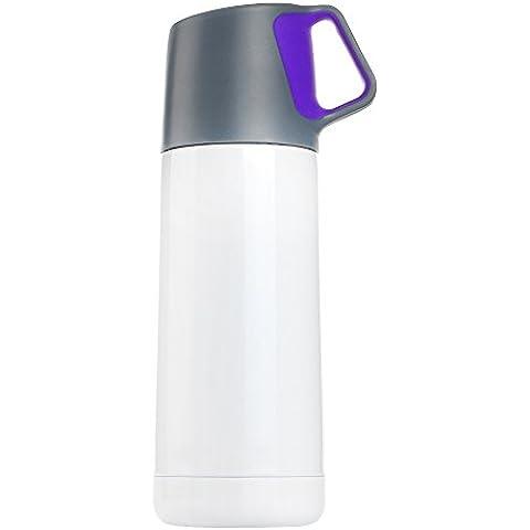 Superstring confezione da 500 ml, in acciaio INOX, senza BPA, con doppia parete, Thermos-Borraccia d'acqua, bottiglia per tazza da caffè da viaggio, campeggio, Sport coperchio impedisce perdite & schizzi con salvadita