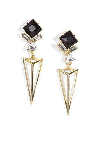 Happiness Boutique Damen Tropfen Ohrringe in Gold und Schwarz (Gold-schwarzer Diamant-ohrringe)