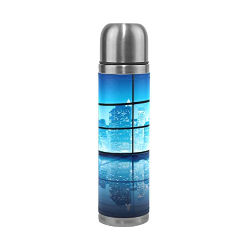 MUMIMI Moderner NYC Vakuum-isolierte Edelstahl-Wasserflasche, 450 ml, Sport-/Kaffee-Thermosflasche, echtes Leder, BPA-frei - Nyc Kaffee