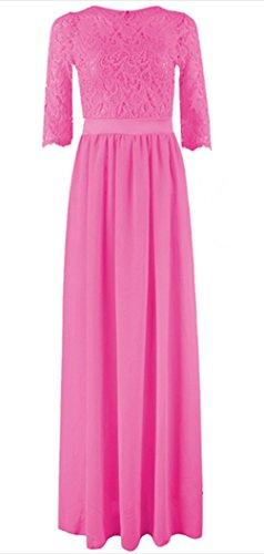 Damen Elegant Spitzenkleid Brautjungfer Lang Ballkleid Rundhals Langarm Lace Abendkleid Chiffon Faltenrock Festlich Partykleid (Schnee Weiße Kleider Für Erwachsene)