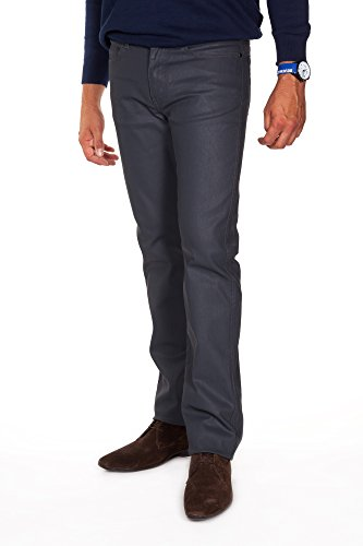 Redman-Texan Denim Enduit-Jeans en denim enduit-5 poches-coupe droite-ajusté au niveau des cuisses-Homme Gris