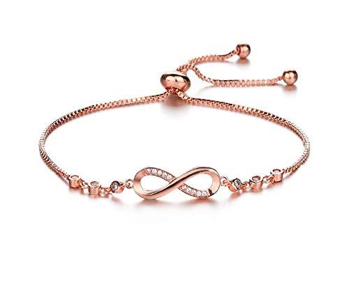 RC Bijoux pour femme plaqué or rose en argent 925 et oxyde de zirconium symbole infini 8 bracelets réglables Cadeau pour femmes filles