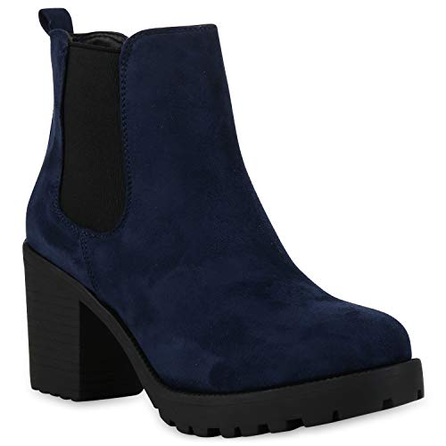 Damen Stiefeletten Chelsea Boots Profilsohle Schuhe 110386 Dunkelblau 41 Flandell