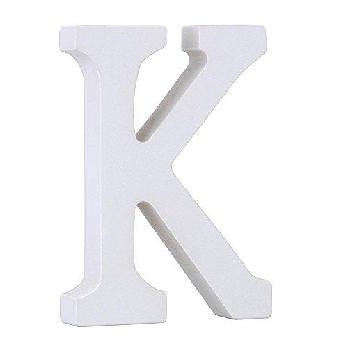 Weiße Holzbuchstaben 8cm von A-Z für Kinderzimmer oder Tür, persönliches Geschenk & Dekoration (Preis pro Buchstabe) (K)