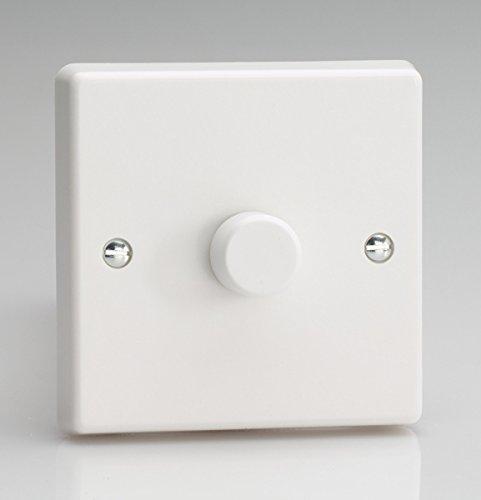 Rotierender LED-Dimmer JQP401W von Varilight, V-Pro Series, 1 Gang, 1- oder 2-Wege, ein-/ausschaltbar, 1x 0-120W (1-10LEDs), klassischer, weißer Kunststoff 6 Pro-a/v-serie