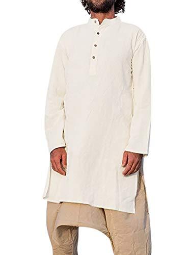 Hals-kaftan (Pengfei Herren Leinen Bademantel Casual Kaftan Abaya Muslim Thobe Lange Seite mit Taschen - Weiß - Large)