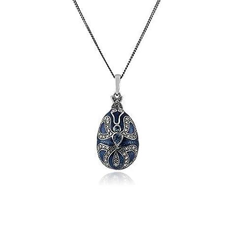 0,40 Karat Blauer Topas 925 Sterlingsilber Faberge Ei Stil 45cm Halskette