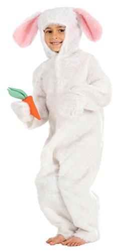 Kinder-Kostüm 'Weißer & Brauner Osterhase - Alice im Wunderland Märzhase' - Einteiler-Faschingskostüm für Mädchen & Jungen - EU 152 (10-12 Jahre), weiß