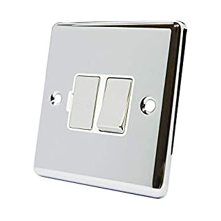 AET CPCSFSWC Polished Chrome Classical Spur White Insert Metal Rocker Switch-13 Amp Switched Fused Connection Unit