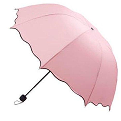 squarex Sonnenschirm/Regenschirm mit gewelltem Zierrand, zusammenklappbar, Kuppelschirm im Lotusblätter-/Prinzessin-Look rosa rose -