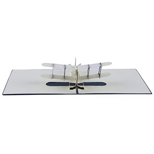 Kissherely 3D Design Flugzeug Segelfliegen Handgemachte Pop Up Grußkarte Segelflugzeug Geschenkkarte Für Thanksgiving Geburtstag (Blauer Umschlag)