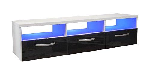 Berlioz Creations Kosmo 3 Meuble TV avec LED Panneaux de Particules Noir 145 x 40 x 36 cm