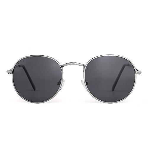 JIMHALO Polarisiert Klein Rund Sonnenbrille Retro Spiegel Kreis Linse Metall Rahmen Damen Herren(Silber/Polarisiertes Grau)