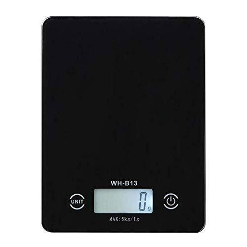 (zazcb 5kg 5000g · g Elektronische Küchenwaage Gewicht Fütterungs-Diät-Postkarte Digitalwaage für das Backen wasserdichtes Kochen Glasregale 5Kg China Black)