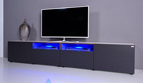TV Lowboard NOOMO # weiß / anthrazit inkl. RGB-Beleuchtung mit Fernbedienung