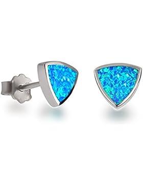 Ohrstecker mit synth. Opal türkis hellblau, 925 Silber rhodiniert, kleine ohrringe 6mm blau-grün schimmernd