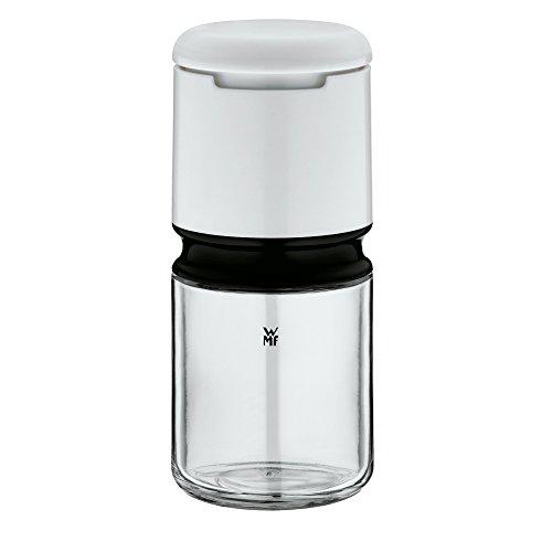 WMF Depot Salz und Pfeffermühle, unbefüllt, Glas, Kunststoff, Keramikmahlwerk, Mühle für Salz, Pfeffer, Gewürze, H 13 cm, weiß