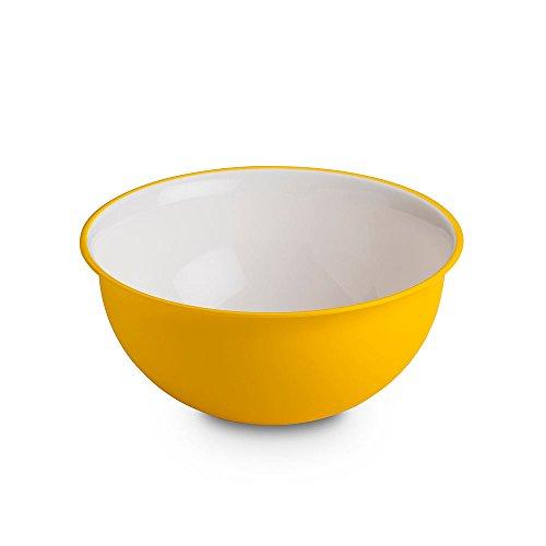 Omada design insalatiera 2 litri, misure: 20 x h 9 cm bianca dentro, colorata fuori, in plastica e microban antibatterico,adatta a microonde e infrangibile,da cucina,linea sanaliving