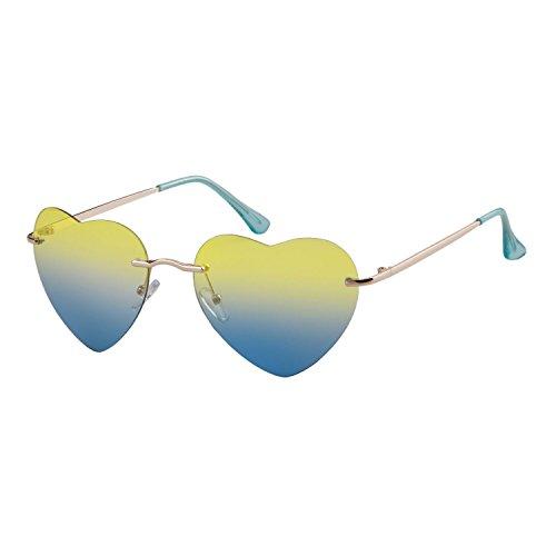 ADEWU® Damen Frauen Herzform Sonnenbrille Randlos Strand Brille