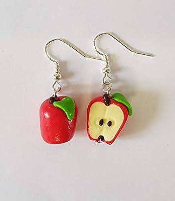 boucles d'oreilles pommes,pommes rouges,boucles pommes rouges,boucles dépareillées,boucles gourmandes,pommes