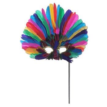 Beistle gefiederten Maske mit Stick für die Halloween Party One-Size mehrfarbig (Maske Mit Stick)