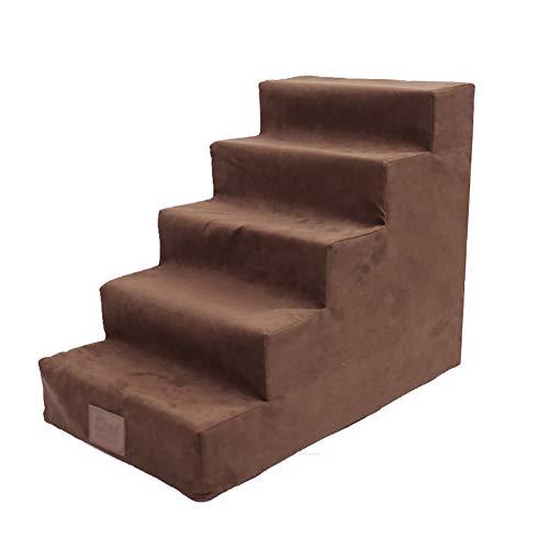LPYMX-Haustreppe 5-stufige Hundetreppe auf einem hohen Bett, Haustierrampe Haustierleiter Katze und Hund, abnehmbar waschbar (Farbe : Brown)