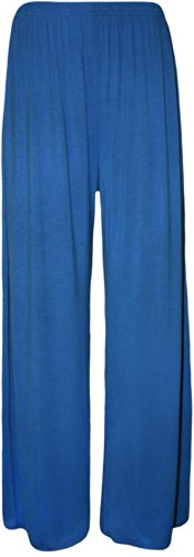WaerAll - Pantaloni a palazzo, da donna, taglie forti, tinta unita, gamba svasata, tagliadalla XL in su Royal Blue