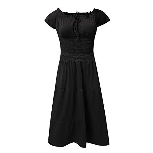 Women's Solid Short Sleeve Beach Dresses - Women Summer