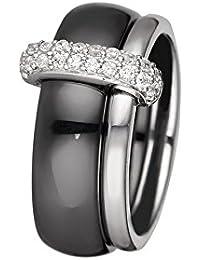 Mes-bijoux.fr - Bague Femme en Céramique Noire et Argent 925/1000 - 7BJ6269BAgv