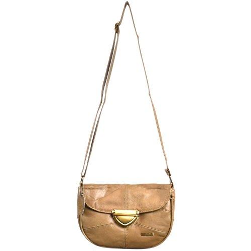 Damenschultertasche, -handtasche Leder mit Taschenklappe und Verschluß in Schildform (Dunkelbraun / Dunkelbeige / Hellbraun) Dunkelbeige