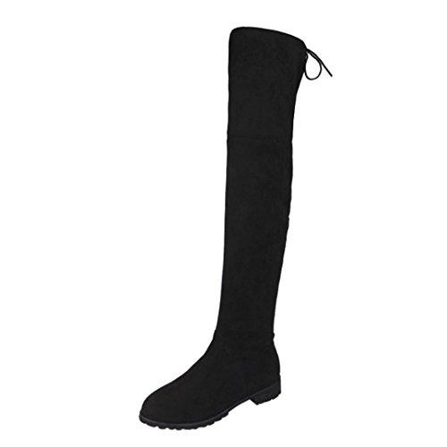 Botas altas para mujer Botas de tobillo de mujer Hebilla Delgado Alto Sobre la rodilla Recortar Plano Casual Zapatos negro Gris Rojo LMMVP (43, Negro)