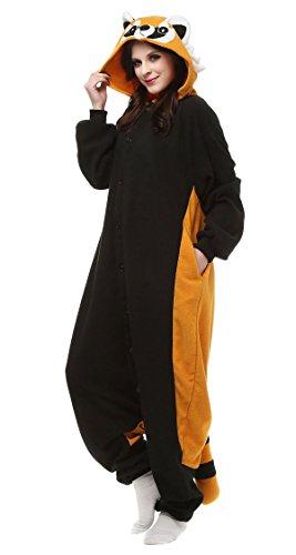 Aivtalk Jumpsuit Tier Cartoon Pyjama Schlafanzug Fasching Halloween Kostüm Sleepsuit Onesie Cosplay Fleece-Overall Erwachsene Unisex Kigurumi Tieroutfit - Schwarz (Mädchen Kostüme Süßer Waschbär)
