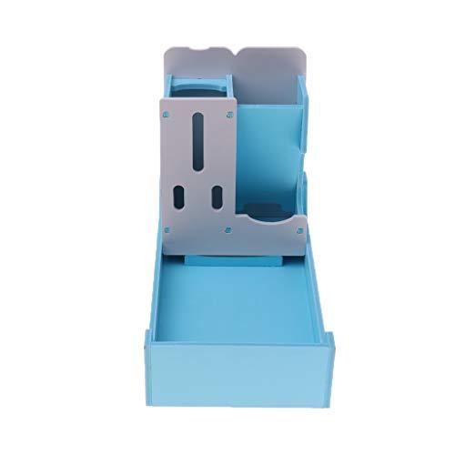 Tubayia Haustier Kleintier Futterstation Futterautomat Futterspender Wasserspender für Igel, Hamster, Maus usw (Blau)