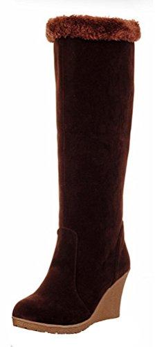 SHOWHOW Damen Nieten Gefüttert Langschaft Stiefel Mit Keilabsatz Kaffeebraun 42 EU kXzhYo7V9