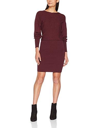 VILA CLOTHES Damen Kleid Vinoma L/S Knit Dress Rot (Fig Fig), 36 (Herstellergröße: S)