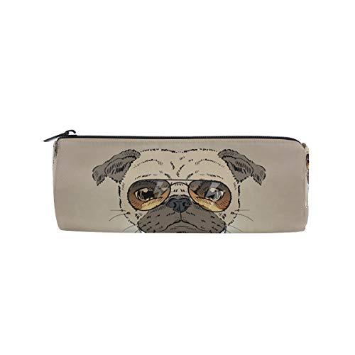 IMOBABY Cool Mops Hund Gesicht Sonnenbrille Federmäppchen Stifteetui Stifteetui Stiftetasche Tasche mit Reißverschluss Student Stiftehalter Geschenk Reise Make-up Tasche