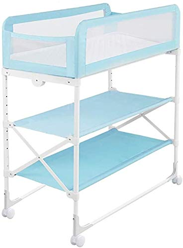 Changing Table Foldable Baby Diaper Changing Table,Movable Baby Changing Station with Safety Strap and Fence Baby Bath Table Dresser Unit Organizer (Color : Blue, Size : A) Changing Table ●Foldable changing table- Easily fold it if you finish all the tasks,With its space saving design, you can store it behind a door, it will make life a little easier for parents. ●Size and Safe and Stable- 80x 50 x 107cm,Suitable for babies weighing less than 25kg,With seat belt,Changing pad has a restraining strap for added safety and is made of easy to clean, soft ●2-in-1 design: Baby changing table can be used as baby massaging table as well. It is designed at the proper height of parent to prevent mom's back aches and pains from kneeling or bending when changing diapers to babies. 1