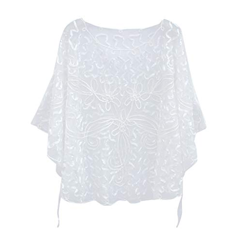 Yvelands Damen Mesh Blouse with Perspective lace Schal -