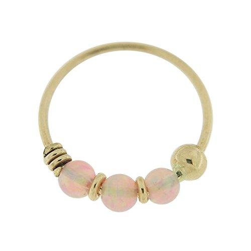 9K Gelb Gold dreifach Pink Opal Perle 22 Gauge Hoop Nasenring Nase Piercing