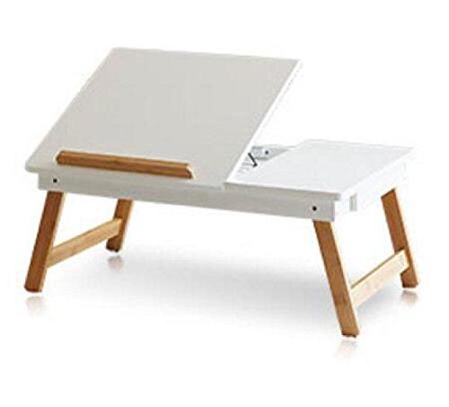 Holz-loft-betten (Laptop-Tisch Bett Schlafsaal Loft Zusammenklappbaren Studie Schreibtisch Kinder Esstisch Bett Tablett Weihnachtsgeschenk,White-OneSize)