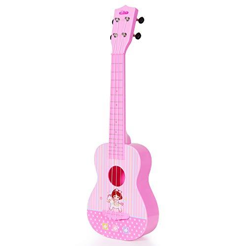 Guitarra Ukelele Musical Juguete para Niños, 23 Pulgadas 4 Cuerdas Guitarra Clásica Juguete Eléctrico del Instrumento de Música para Principiante, Regalo de Cumpleaños para Niños Niñas Fiesta, Rosado