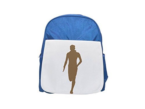 Silhouette of a running man. printed kid's blue backpack, Cute backpacks, cute small backpacks, cute black backpack, cool black backpack, fashion backpacks, large fashion backpacks, black fashion back (Running-silhouette)
