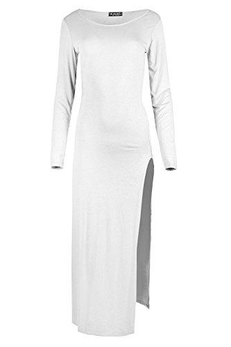 Be Jealous Damen Einfach Rundkragen Lange Ärmel Midi Kleid Damen Einfarbiger High Doppelseitig Schlitz Hülle Top Plus Größe EU 36-50 Weiß