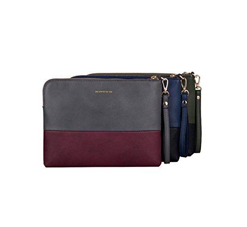 Unisex Pochette �?PU Borsa / Busta Borsa / Borsa con una Cintura per il Viaggio / Shopping / Partito - Grigio & Rosso Opaco Grigio & Rosso Opaco