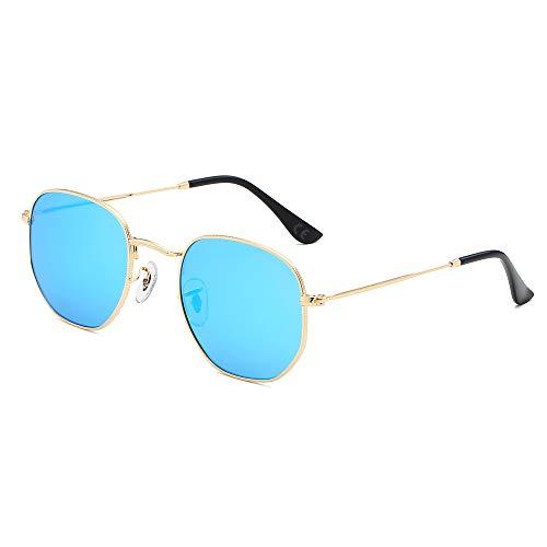 AMZTM Polarisierte Quadratische Sonnenbrille - Metallrahmen Mode Gespiegelt Gläser Fahren für Männer Frauen Revo Linse Schatten 100% UV Schutz Schatten (Gold Rahmen Eisblaue Linse)